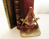 Vintage Masonic Brass Bookend, Brass Door Stop, Masonic Lodge Decor, Freemanry