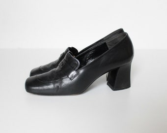 Vintage Karl Lagerfeld High Heel Loafers // 1980s Black Leather Chunky Heel Shoes // Size 5.5