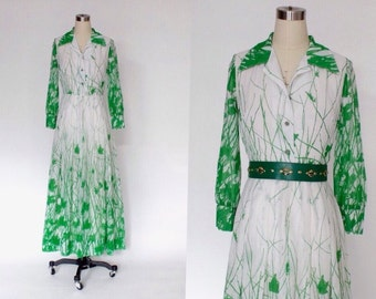 1970s Floral Maxi Dress // 70s Vintage Long Cotton Batiste Green & White Dress // Small - Medium