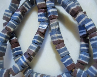 African Trade Beads: Tribal Large Hole Glass Rectangles, Blue, White, Brown Ethnic Design, Handmade in Ghana, 14x10mm, 3mm hole, 52 pcs.
