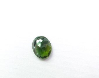 Green Natural Tourmaline. No Treatments. Native Cut. Set Table Down For Rose Cut. 1 pc. 0.76 cts. 6x7x3 mm  (TM2311)