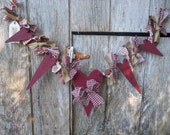 Valentine Primitive Cranberry Garland of Hearts