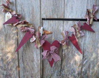 Valentine Primitive Cranberry Garland of Hearts, Made To Order