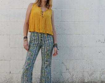 Vintage 70's floral low rise bellbottoms