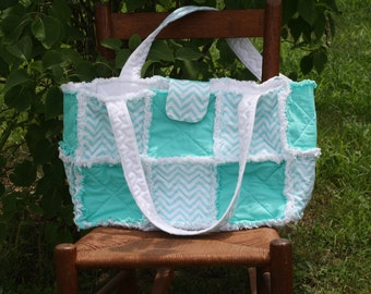 Rag Quilt Purse, Tote, Diaper Bag, Shopping Bag, Turquoise Chevron Fabric, Fabric Handbag, Shoulder Bag, Top Handle Bag, Made By Prinilla