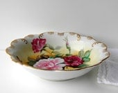Vintage Floral Roses Serving Bowl or Decorative Bowl with Gold Trim. Cottage Home Decor. China Cabinet Display. Table Accent Piece.
