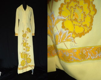 Yellow Floral Screen Printed Vintage 1970's Alfred Shaheen MAXI Dress M