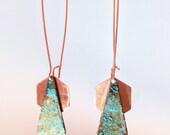 Geometric Earrings Rustic Chic Jewelry Copper Patina Earrings Copper Jewelry Copper Earrings Patina Triangle Earrings Hexagon Earrings Boho