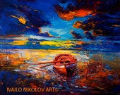 Red boat— PALETTE KNIFE Contemporary Seascape Wall Decor Original Oil Painting On Canvas By Ivailo Nikolov SIZE 24x34