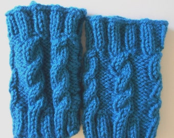 Blue Cable Boot Cuffs, Teal blue, Small to medium size, ankle cuffs, short leg warmers, fall and winter boot accessories
