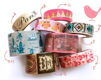 Japanese Washi tape for scrapbooking ( please choose from A To G and I to J , M Q