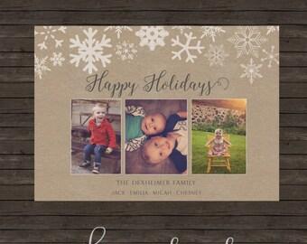 Snowflakes Kraft Holiday Christmas Card - DIY Printing or Professional Prints