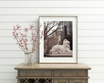 New York City Photography - New York Public Library Photograph - Lion Statues - Manhattan Print - NYC Photo Neutral Wall Art Trees Buildings