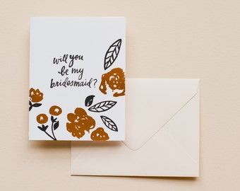 Letterpress Card- Will You Be My Bridesmaid