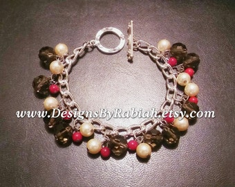 DBR Signature Charm Bracelet #2 - Brown, Cream and Red