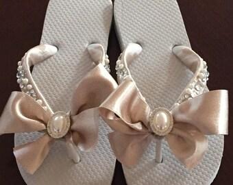 Bridal Flip Flops/Wedges/Shoes. Wedding Flip Flops.Bridal Bowz Flip Flops. Ivory Flip Flops. Destination Wedding. Mother of the Bride
