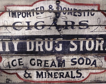 Vintage reclaimed pallet large old 1800's style city drug store sign home decor