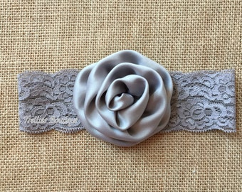 Gray Silver Lace Headband, Gray Silver Elastic Headband, Flower Girl, Wedding