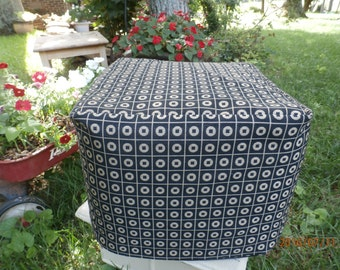 CUBE Ottoman Slip Cover  14x14x14 inches - Circles Mid Century Modern Home Decor Fabric