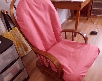 Nursery- UpCycle Glider Rocker Slip Cover FOR YOUR Glider Cushions - Bubble Gum Pink fabric Slipcover