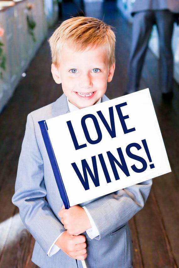 LOVE WINS Wedding Sign {Gay Weddings Accessory} - Wedding Banner Gay & Lesbian LGBT Commitment Ceremony Gay Friendly Modern Block Font 1074