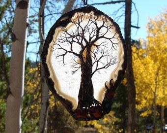 "Wire Tree of Life sculpture, Grove Tree, natural Brazil Quartz Agate, Suncatcher, nature inspired gemstone art, unique Autumn decor gift, 8"""
