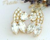 Bridal Earrings, Bridal Crystal Earrings, White Crystal Earrings, Swarovski Bridal Earrings, Bridesmaids Earrings, Bridal Bohemian Earrings