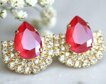 Ruby Earrings, Ruby Red Crystal Swarovski earrings, Bridesmaids Ruby Earrings, Bridal Red Ruby Earrings, Marsala Earrings, Ruby Red Studs