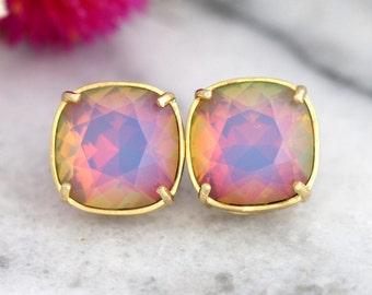 Rainbow Earrings, Rainbow Studs, Opal Studs, Opal Earrings, Swarovski Opal Earrings, Gift For Her, Christmas Gift, Swarovski Opal Studs,