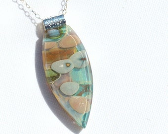 Fused Glass Jewelry, Glass Pendant, Dichroic Glass, Organic, Stone, Pebbles - Pastel, Earth Tones, Neutral Tones  (Item #10753-P)