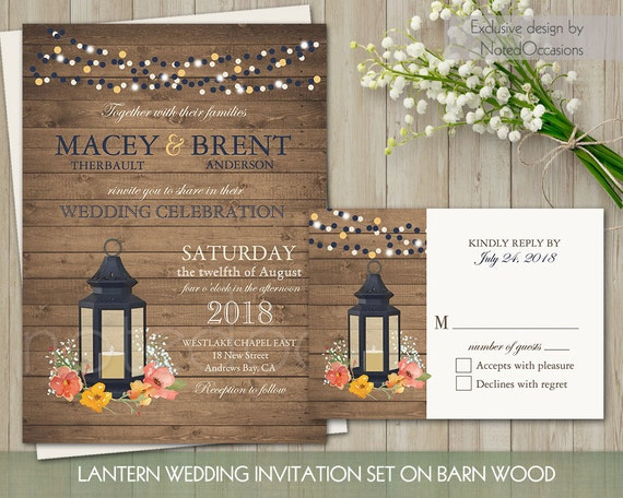 Rustic Wedding Invitation Sets: Rustic Wedding Invitation Set Metal Lantern By NotedOccasions