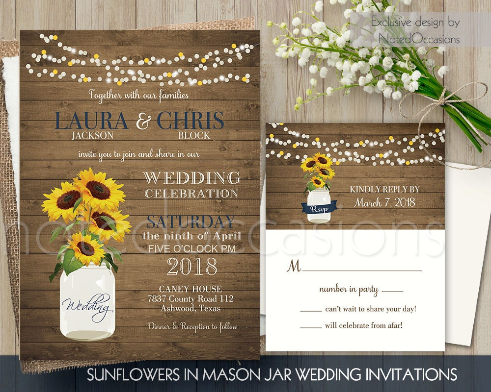 Sunflower Wedding Invitations Rustic Wedding by NotedOccasions