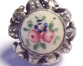 Antique Button Gorgeous Cricket Cage w/ Enamel Rose & Forget-me-not center