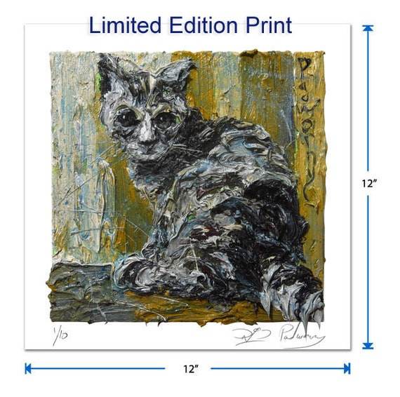 Original signed Print 12 by 12 in. / original signed print of oil painting art signed pet abstract cat kitten