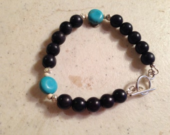 Turquoise Bracelet - White, & Black Jewelry - Gemstone Jewellery - Sterling Silver - Fashion - Beaded