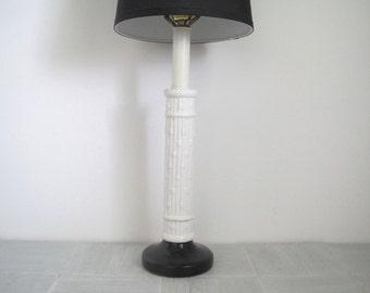 Mid century table lamp/faux bamboo white/black base