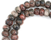 MOVING SALE Black and Red Lined Jasper Beads - 6mm Rondelle - Full Strand