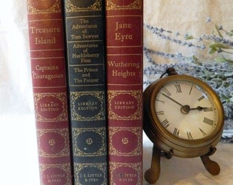 Vintage Book set Jane Eyre Wuthering Heights 1946~J.J. LITTLE & Ives~Treasure Island~Captains Courageous~