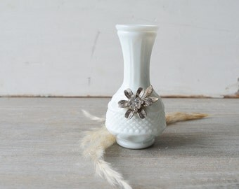 Wee Vintage Milk Glass Bud Vase with Floral Accents