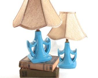 Mid Century, Art Deco, Nuevo, Blue Ceramic Bedside Boudoir Lamps, Nightstand, Dressing Table Vanity, Bedroom Lighting, 1950s, 60s set of two