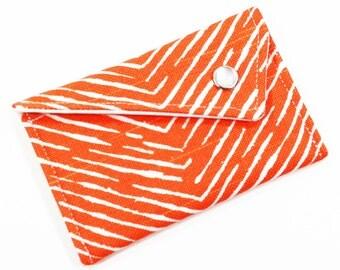 Business Card Holder - Orange and White Herringbone Chevron Card Case Wallet Gift Card Holder