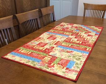 Six of Twelve runner, Large Quilted Table Runner, 4949-0,  Scappy Table Runner, Red Table Runner