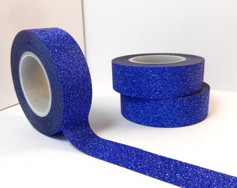 Glitter Washi Tape in Blue- Paper Tape Great for Scrapbooking Paper Crafts and Decorations and Winter Crafts  15mm x 10m