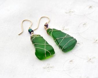 Gold Filled Sea Glass Earrings. Big Genuine Sea Glass. Green Bottle Glass Earrings. Rustic Chunky Statement Earring Sea Glass Jewelry Israel