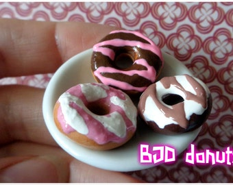 Yummy miniature 3 donuts for ball jointed doll BJD MSD 1/4 scale