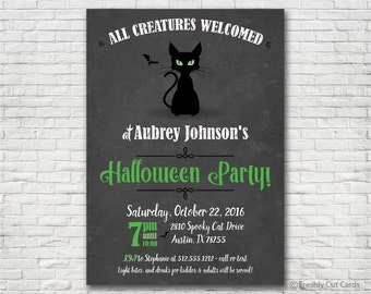 Black Cat Halloween Party Invitation - Printable or Printed (w/ FREE Envelopes)