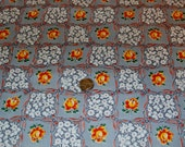 "Vintage 36"" Wide 1940s Fabric Remnant, Soft Grey, Orange Yellow Roses, White Flowers, Bows 36"" x 29"", 21"" x 28"", 27"" x 11"" plus"