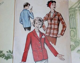 "Vintage 1950's Advance Pattern 9011 for Misses Jacket Size 16, Bust 36"", Waist 28"", Hip 38"""