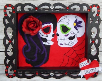 Till Death Sugar Skull Embroidered Art