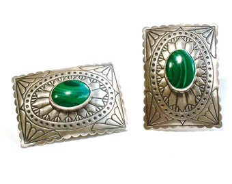 Sterling Concho Earrings Navajo Cowgirl Southwestern Malachite